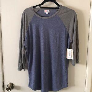 LulaRoe Blue/Gray Randy T - size L